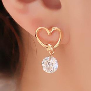 Wholesale Crystal Earings Sweety Allergy Free Heart Zircon Ear Pins Bowknot Faux Pearl Ear Drop Earrings