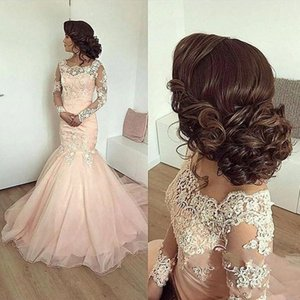 2019 New Arrival Pink Evening Dresses Mermaid Scalloped Long Sleeves Lace Appliques Tiered Sweep Train African Prom Dresses Party Gowns on Sale