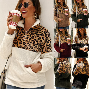 Wholesale Sherpa Women Leopard Patchwork Pullovers Winter Long Sleeve Sweatshirt Zipper Soft Fleece Sweaters Outwears Coats With Pocket Tops C92708