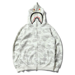 Wholesale Hot Fashion Style Shark Pattern Hoodies High Quality Cotton Funny Sweatshirts Autumn Winter Embroidery Night Light Hoodies
