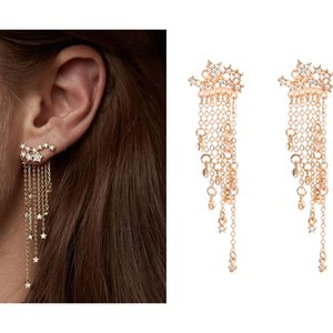 Wholesale shooting stars for sale - Group buy Bohemia Shooting Star Long Tassel Dangle Earring for Women Girls Shiny Rhinestone Fringe Earring Fashion Jewelry Gold Silver Plated
