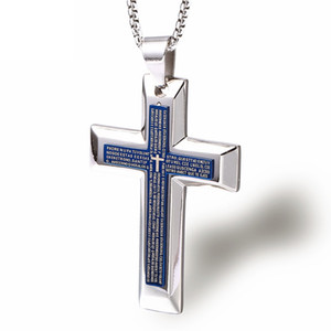 Wholesale Fashion Men Cross Pendant Necklace Choker Necklaces Stainless Steel Chain Jewelry Blue Black Double Bible Cross Punk Hip Hop Mens For Gift