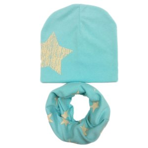Wholesale 2019 new cotton star spring warm children scarf cap sets boy girl beanies collars baby kids hats plus size for kids over