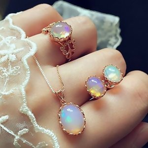 Hot Opal Jewelry Sets For Woman Pendant Necklaces Choker Water Drop Earrings & Ring Gold Color Bohemia Wedding Jewelry Gifts