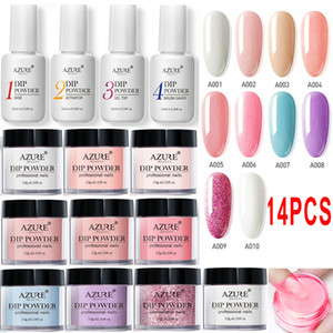 Wholesale 14Pcs Full Set Dipping Powder Base Top Coat Kits DIY Dip Nail Powder Manicure Set Brush Saver Powder