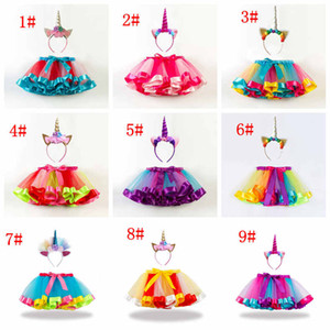 Wholesale Baby girls rainbow color tutus skirts unicorn headband set babies lovely clothing set infant toddler holidays dress up