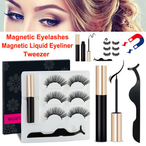 Wholesale 3D Mink Eyelashes Magnetic Liquid Eyeliner with Tweezer Set Pairs Magnetic False Eyelashes Extension Waterproof Mink Lashes Makeup Tools