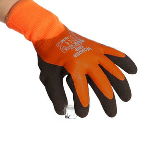 Wonder Grip WG-338 Insulated Double-Dipped Incredibly Comfortable Work Gloves, Latex Coated Water Resistant, Black Palm, S-XL, Orange