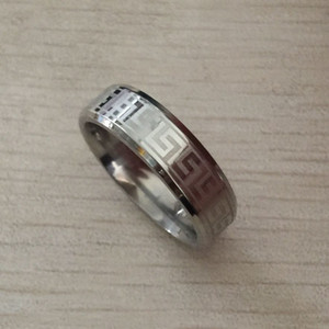 Wholesale Never fade Punk Rock Style silver Greek key band Ring Mens Fashion Bling Hip Hop USA European Ring silver stainless Steel wedding Rings
