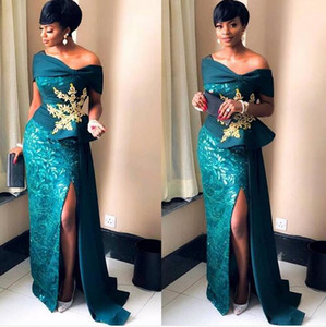 Wholesale 2019 Nignia gorgeous Elegant mermaid Evening Dresses off the shoulder sexy high split sweep train prom dress custom made with gold lace