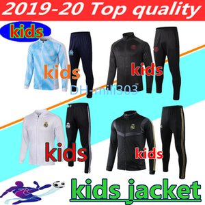 Wholesale 2019 Real Madrid kids long zipper jacket tracksuit Paris psg OM Marseille roma KIDS BOYS football jacket training suit chandal