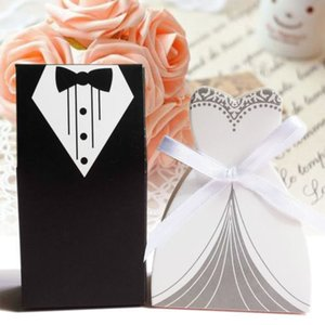 Wholesale 100pcs Wedding Favor Candy Box Bride Groom Dress Tuxedo Party W Ribbon J190706