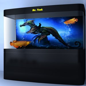 Wholesale Customized Aquarium Background Poster With Self Adhesive Dragon Knight Creative PVC Fish Tank Wallpaper Ornament
