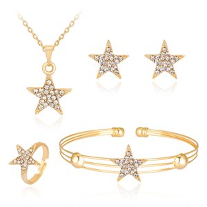 HC Lovely Gold Color Crystal Star Jewelry Sets for Girls Kids Gifts Fashion Rhinestones Small Simple Children Necklace Sets T