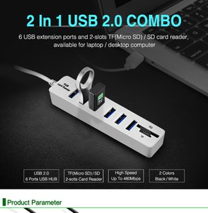 Wholesale USB Hub Multi USB Hub USB Splitter High Speed Ports Hab TF SD Card Reader All In One For PC Computer Accessories