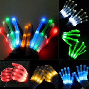 Wholesale LED Light Glowing Gloves Finger Lighting Electro Rave Party Dance Skeleton Halloween New