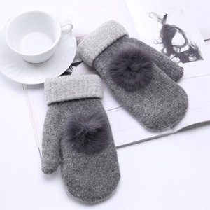 Wholesale 2018 New Winter Female Knitted Thick Cashmere Double Layer Wool Plush Warm Gloves Women Cute Full Fingers Gloves Mittens