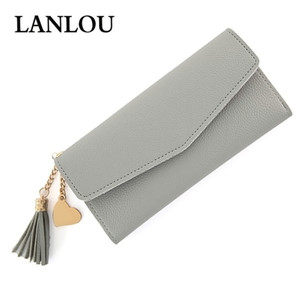 Wholesale LANLOU Women wallets Coin purse Fashion lady card holder leather wallet Simple large-capacity heart-shaped pendant buckle wallet
