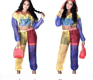 Wholesale Color Patchwork Sheer Mesh Women Tracksuit Front Zipper Long Sleeve Hooded Jacket Crop Top Pants Two Piece Set Outfits