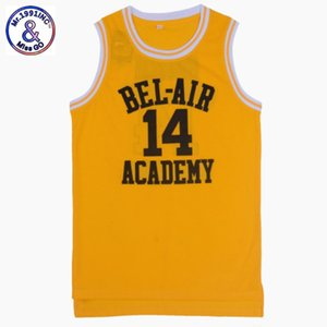 Wholesale US SIZE The Fresh Prince Of Bel Air Academy Jersey Will Smith Black Yellow Men Jersey Throwback Stitch Jerseys Drop Ship Y19042204