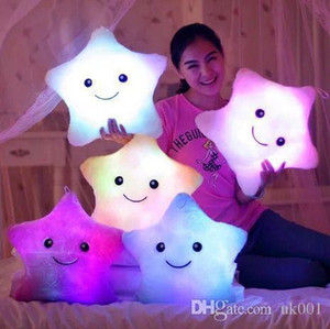 Beauty Stuffed Dolls LED Stars Light Colorful Pillows Popular Plush Toys for Kids shinning star gift for baby