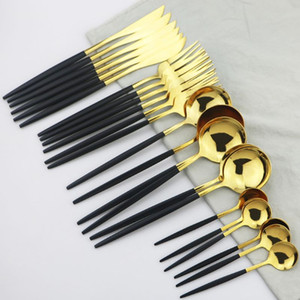 24 Piece Set 18 10 Stainless Steel Dinner Black Gold Cutlery Set Knife And Fork Spoon Cutlery Set Kitchen Party Present Wedding Silverware