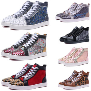2020 Red Bottom Designer Shoes Men Women Studded Spikes Casual Shoes Fashion Insider Sneakers Black Red White Leather Luxury High Boots