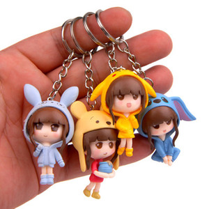 Wholesale Beautiful girl figures pikachu bear cap Key Rings bag Pendant baby kids action figures toys set LA70