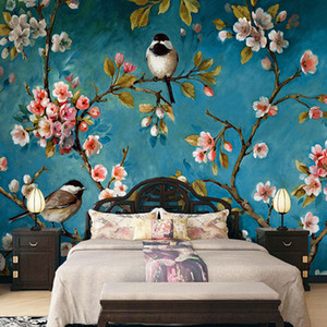 цветочные обои оптовых-Photo Wallpaper D Stereo Chinese Flowers Birds Mural Bedroom Living Room New Design Texture Wallpaper Papel De Parede Floral D