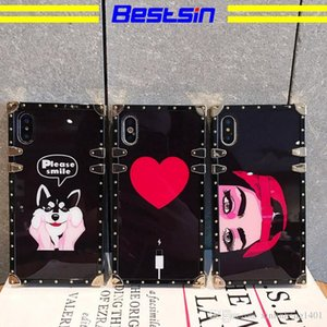 Wholesale Bestsin New style square electroplated scratch resistant acrylic cartoon cellphone case For iphone p p X Samsung S8 S9