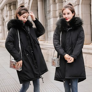 Wholesale Girls Long Fund Bring Hair Lead Self cultivation Thickening Cotton padded Jacket Loose Coat Back Season Cotton Suit Woman Tide