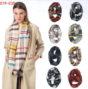 bufandas infinito al por mayor-Plaid Ring Scarf colores Infinity Shawl Wrap Loop Scarf Knitting Multi function Pañuelo en la cabeza Mujeres Neckchief LJJO7150