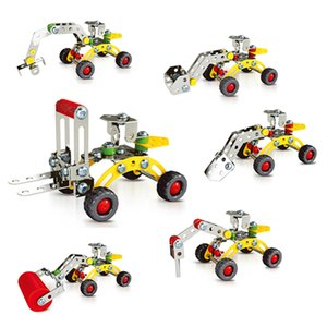 Wholesale 3D Assembly Metal Engineering Vehicles Model Kits Toy Car Crane Truck Excavator Bulldozer Building Puzzles Construction Play Set C4116
