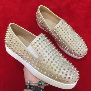 Wholesale 2019 New designer Studded Spikes Flats Red Bottoms shoes Mens Womens Party Lovers Gold Color Genuine Leather Loafers