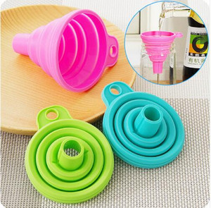 Wholesale Useful Collapsible Style Funnel Hopper Protable Mini Silicone Gel Foldable Kitchen Cooking Tools Accessories Gadgets GB