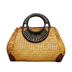 Women Straw Bags Female Bamboo Summer Beach Weave Handbag Lady Handmade Vintage Wood Handle Bag Travel Knitted Totes Bags Ss3144