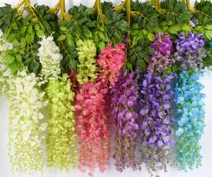 Wholesale 6 Colors Elegant Artificial Silk Flower Wisteria Flower Vine Rattan For Garden Home Wedding Decoration Supplies cm and cm Available