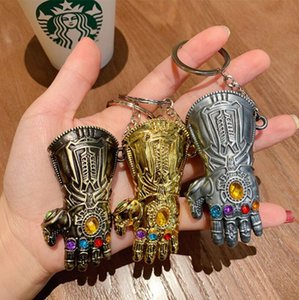 New Marvel Avengers Thanos Infinity glove Gauntlet Keychain Anime Key Ring For Gift Chaveiro Key chain Jewelry Kids Toys with box 4 Colors