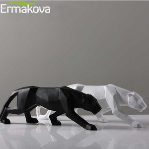 Wholesale Ermakova Leopard Statue Large Size Modern Abstract Geometric Style Resin Panther Sculpture Animal Figurine Home Office Decor Y19062704