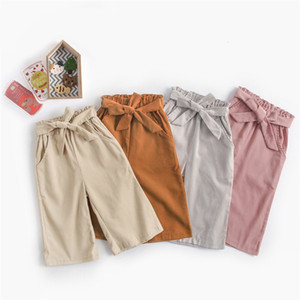 Wholesale INS Girls Corduroy Bow Wide Leg Pants Fall Kids Boutique Clothing Korean Fashion T Little Girls Solid Color Length Trousers
