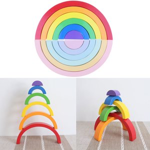 Wholesale Montessori Wooden Rainbow Stacking Game Building Blocks Children Educational Toy