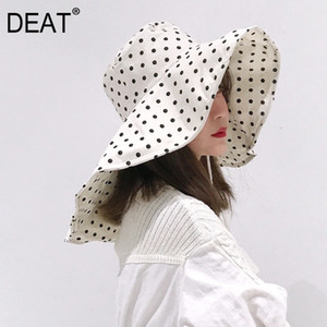 Wholesale DEAT Women Fishermen Big Hat New Round Dome Black Dot Bandage Temperament Fashion Tide All match Spring Autumn D028