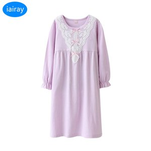 Wholesale iairay girls sleepwear children nightgown kids pajamas for girls cotton sleep nightdress girl nightwear cute lace sleeping dress