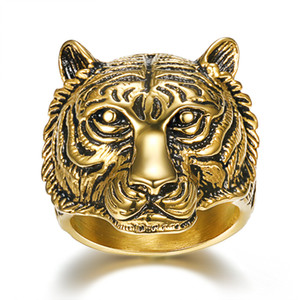 Wholesale New Cool Stainless Steel Men Ring Tiger Head King of Animal Jewelry Gold Color Punk Rock Finger Ring for Men Fashion Jewelry