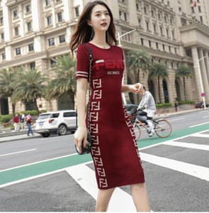 Wholesale Fashionable Temperament of Spring and Summer New Style F Slim Knitted Dresses Blue and Red
