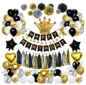 Wholesale Black gold balloon pull flag birthday layout fish tail flag tassel paper flower ball five pointed star balloon package decoration EMS FREE