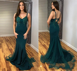 Plus Size Charming Hunter Green Mermaid Prom Dresses Backless V Neck Tulle Floor Length Cheap Simple Formal Dress Party Gown ogstuff