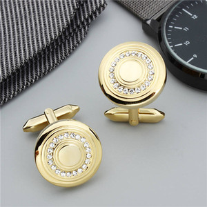 Wholesale Round Gold Color Shinning Crystal Men Cuff Links with Gift Box Hawson