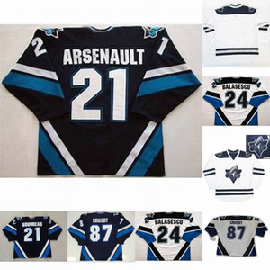 Wholesale jersey number 21 resale online - Rimouski Oceanic Sidney Crosby Gabriel Balasescu Benoit Arsenault Mens Womens Youth cusotm any name any number Hockey Jersey