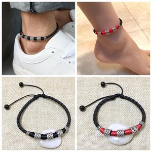 Wholesale Personality Leather Rope Chain Handmade Ankles Bracelet Black Bead Chain Anklet Natural Gem Silver For Women Men Jewelry